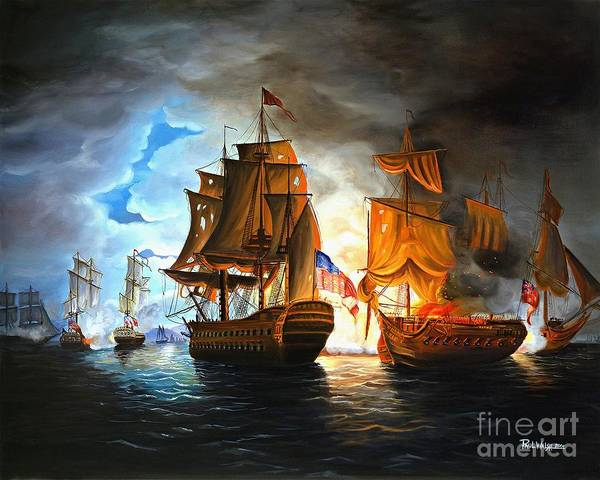 Naval Battle Art Print featuring the painting Bonhomme Richard Engaging The Serapis In Battle by Paul Walsh