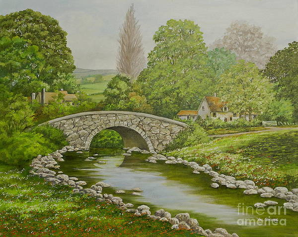 Bridge Art Print featuring the painting Bridge Over Stream by Val Stokes