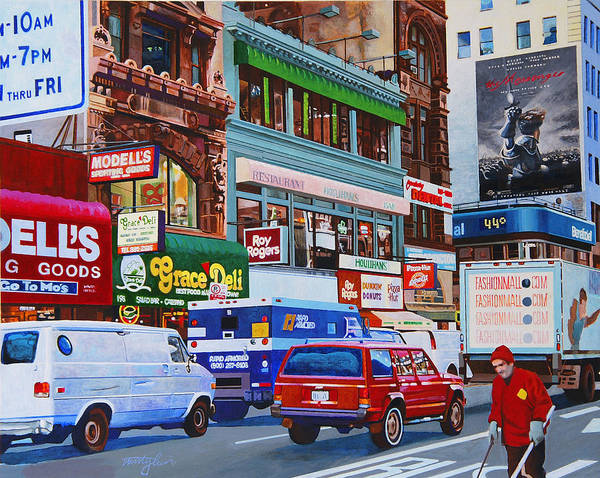 Street Scenes Art Print featuring the painting Broadway by John Tartaglione