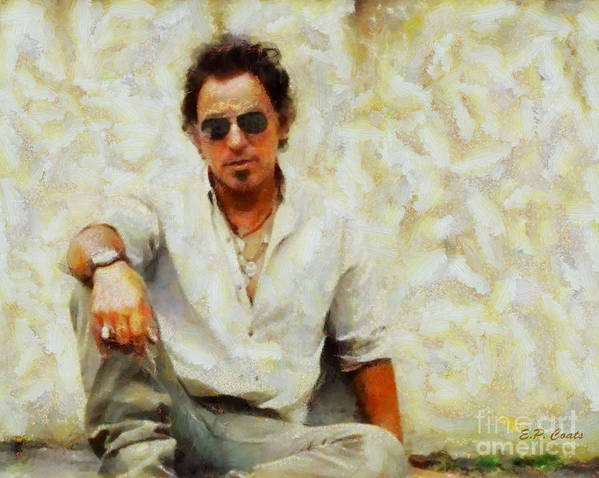Bruce Springsteen Oil Painting Print Bruce Springsteen Painting Bruce Springsteen Framed Prints Musicians Famous People Celebrity Celebrities Prints Art Print featuring the painting Bruce Springsteen by Elizabeth Coats