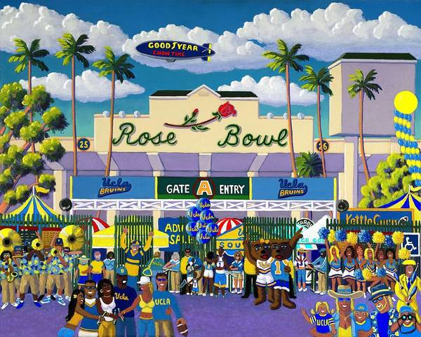 Rose Bowl Art Print featuring the painting Bruinville by Frank Strasser