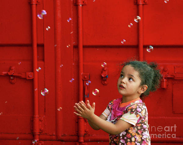 red Canvas Prints Art Print featuring the photograph Bubbling Girl by Aimelle