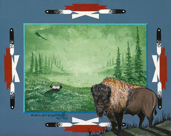 Buffalo Art Print featuring the painting Buffalo Spirit by Cal Arcand