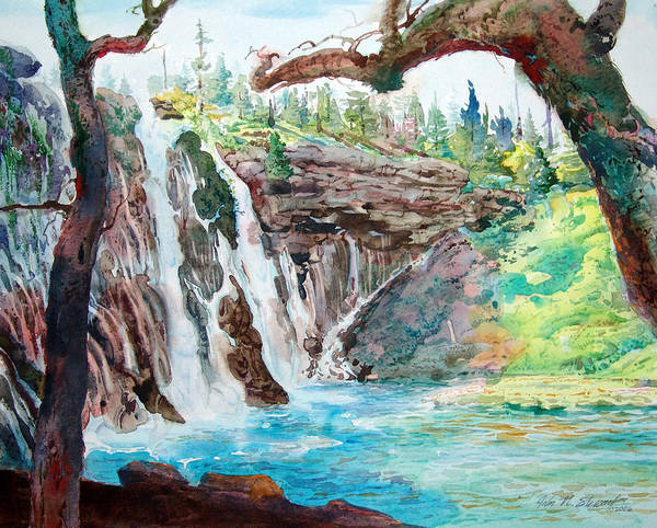 Watercolor Art Print featuring the painting Burney Falls by John Norman Stewart