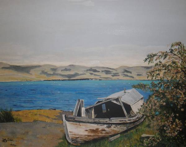 Old Boat Art Print featuring the painting Burwash Landing Yukon by Betty-Anne McDonald