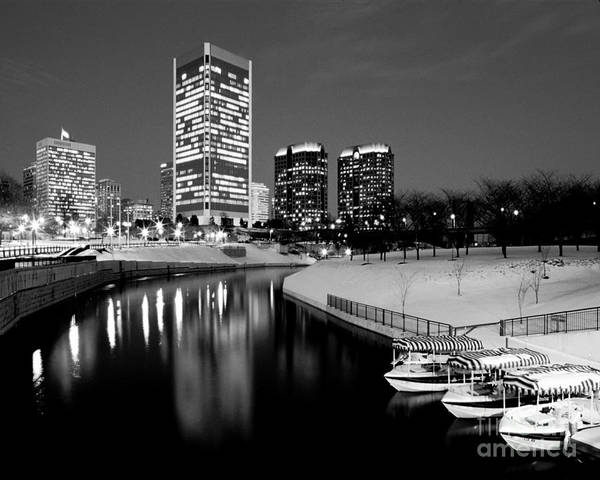 Richmond Art Print featuring the photograph Canal Walk And Richmond Skyline In Black And White by Doug Berry