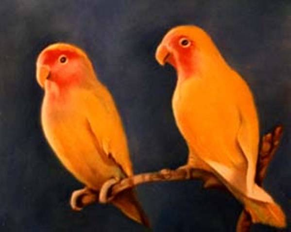 Canaries Art Print featuring the pastel Canaries by Jordana Sands