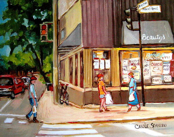 Cafes Art Print featuring the painting Cappucino Cafe At Beauty's Restaurant by Carole Spandau