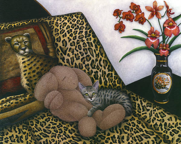 Gray Tabby Cat Art Print featuring the painting Cat Cheetah's Bed by Carol Wilson