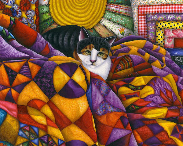 Calico Tabby Cat Art Print featuring the painting Cat In Quilts by Carol Wilson