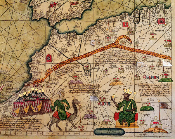 Detail Print featuring the drawing Catalan Map Of Europe And North Africa Charles V Of France In 1381 by Abraham Cresques