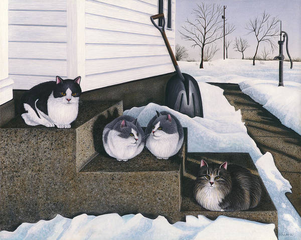 Farm House Art Print featuring the painting Cats - Jake's Mousers by Carol Wilson