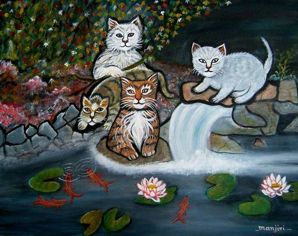 Acrylic Art Landscape Cats Animals Figurative Waterfall Fish Trees Art Print featuring the painting Cats In The Wild by Manjiri Kanvinde