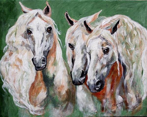 Andalusian Art Print featuring the painting Cavalia by BJ Redmond