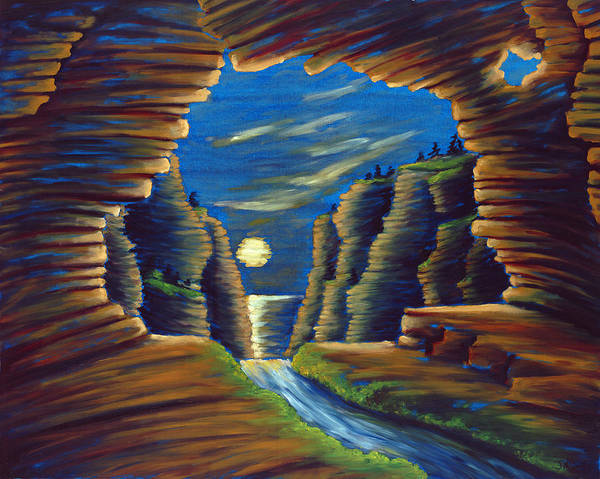 Cave Art Print featuring the painting Cave With Cliffs by Jennifer McDuffie
