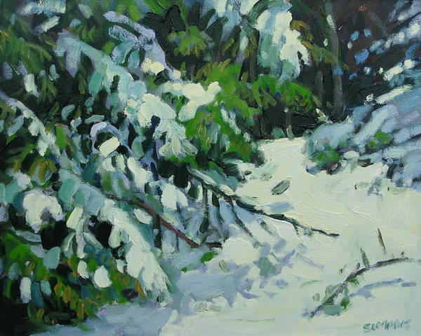Paintings Art Print featuring the painting Cedar And Snow by Brian Simons