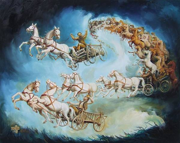 Horse Art Print featuring the painting Chariots In Storm by Gabor Urban