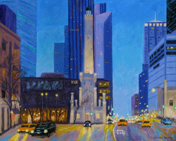 Chicago Art Art Print featuring the painting Chicago's Water Tower At Dusk by J Loren Reedy