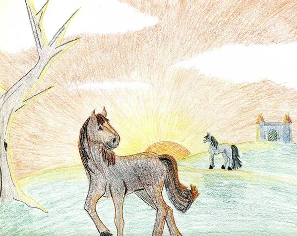 Horse Art Print featuring the drawing Childhood Dream by Kim