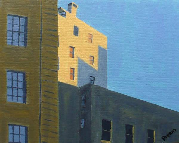 Cityscape Art Print featuring the painting Chinatown Shadows by Laurie Breton