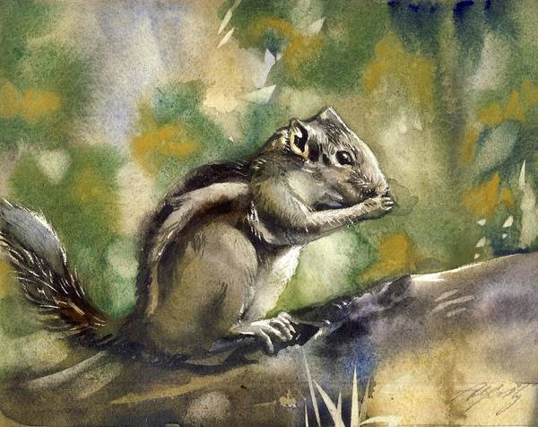 Chipmunk Art Print featuring the painting Chipmunk by Alfred Ng