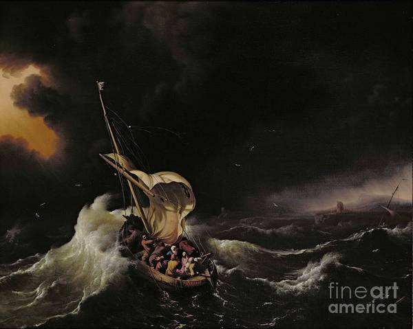 Seascape Art Print featuring the painting Christ In The Storm On The Sea Of Galilee by Ludolph Backhuysen