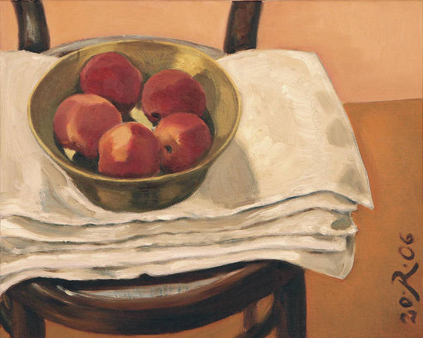 Still-life Apples Chair Red Yellow Gold Art Print featuring the painting Christmas Apples by Raimonda Jatkeviciute-Kasparaviciene