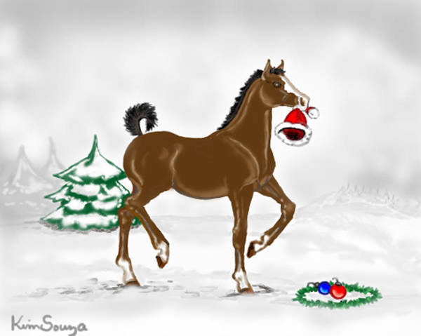 Christmas Art Print featuring the painting Christmas Colt by Kim Souza