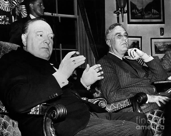 1941 Art Print featuring the photograph Churchill & Roosevelt by Granger