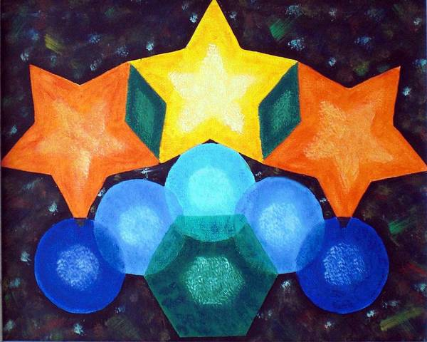 Shapes Art Print featuring the painting Circles And Stars by Nancy Sisco