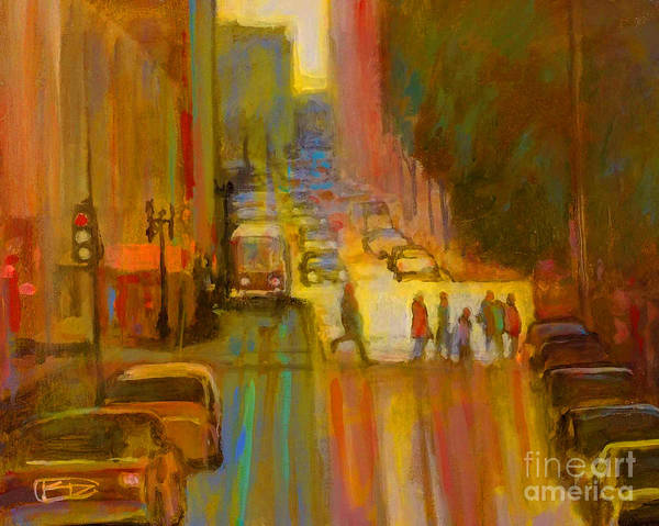 City Art Print featuring the painting City Crosswalk by Kip Decker