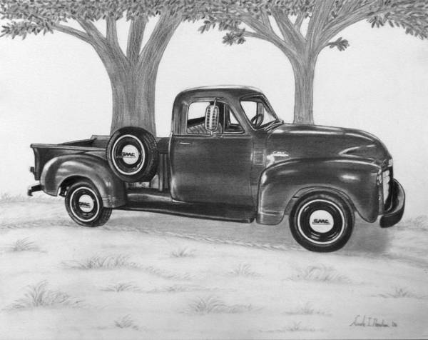Truck Art Print featuring the drawing Classic Gmc Truck by Nicole I Hamilton