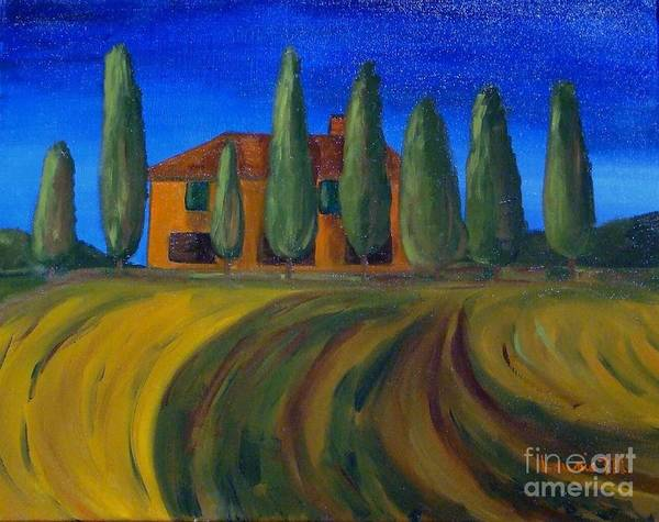 Tuscany Art Print featuring the painting Classic Tuscan Sunset by Laurie Morgan