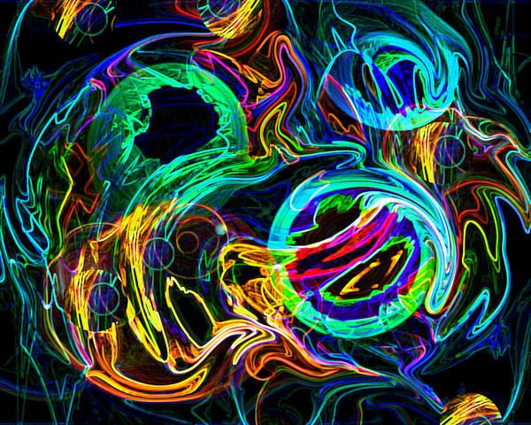 Lights Art Print featuring the digital art Cloud Fire by Lynda Lehmann