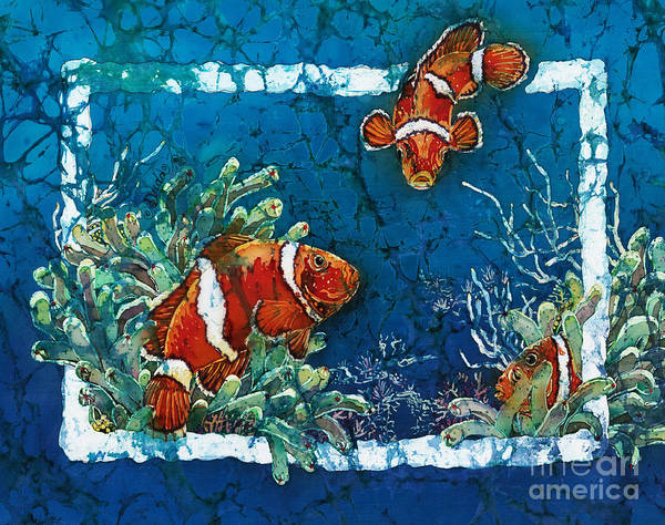 Ocean Art Print featuring the painting Clowning Around - Clownfish by Sue Duda