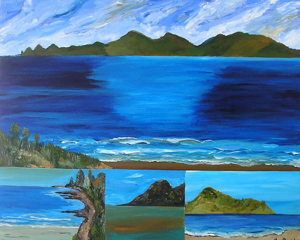 Blue Sea Ocean Coastal Vista Waves Surf New Zealand Art Print featuring the painting Coast To Coast by Sher Green