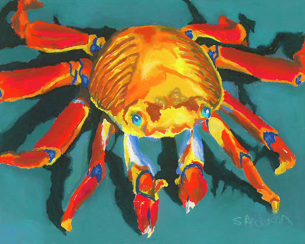 Crab Art Print featuring the painting Colorful Crab II by Stephen Anderson