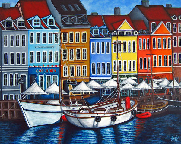 Nyhavn Art Print featuring the painting Colours Of Nyhavn by Lisa Lorenz