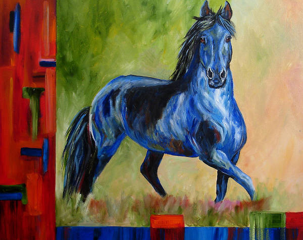 Horse Art Print featuring the painting Contemporary Horse Painting Fresian by Mary Jo Zorad