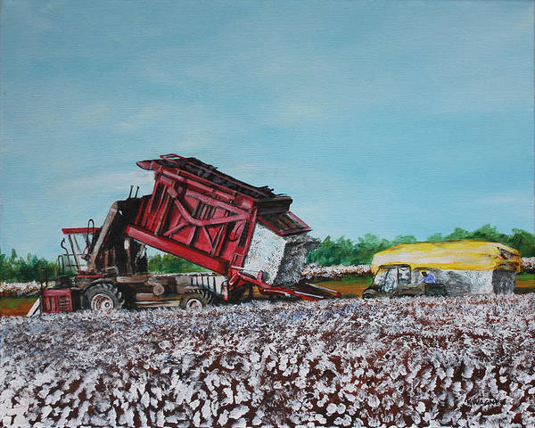 Cotton Art Print featuring the painting Cotton Pickin' Business by Karl Wagner