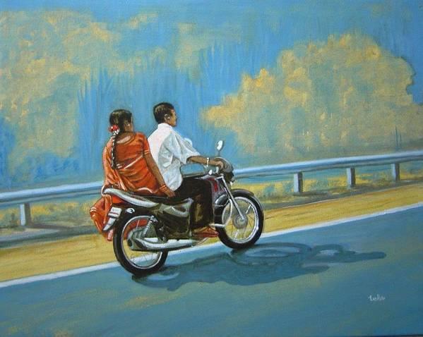 Couple Art Print featuring the painting Couple Ride On Bike by Usha Shantharam