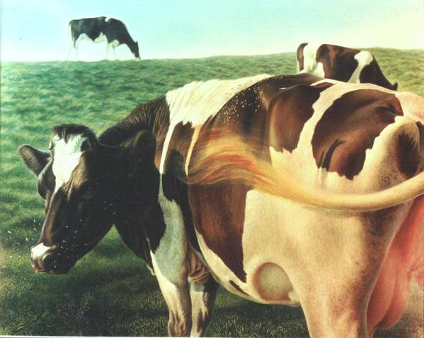 Cows Art Print featuring the painting Cows 2 by Hans Droog