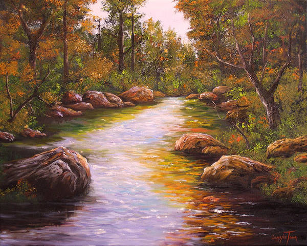 Connie Tom Art Print featuring the painting Creek Retreat Vii by Connie Tom