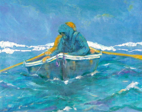 Fishermen Art Print featuring the painting Crossing Over by Ruth Mabee