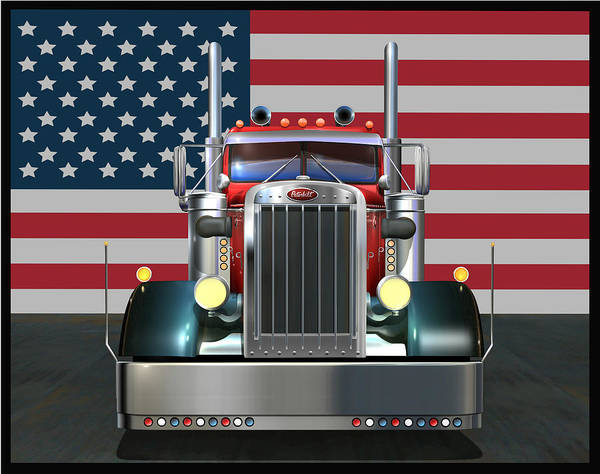 Peterbilt Art Print featuring the digital art Custom Peterbilt 2 by Stuart Swartz