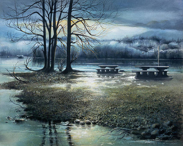 Landscape Art Print featuring the painting Day Break On Inlet Port Moody by Dumitru Barliga
