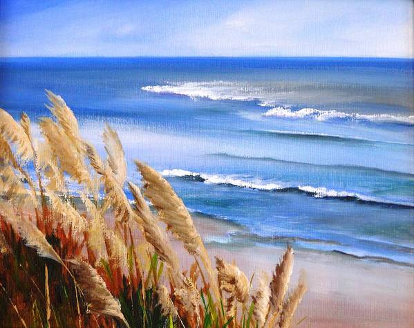 Ocean Art Print featuring the painting Del Playa by Dorothy Nalls