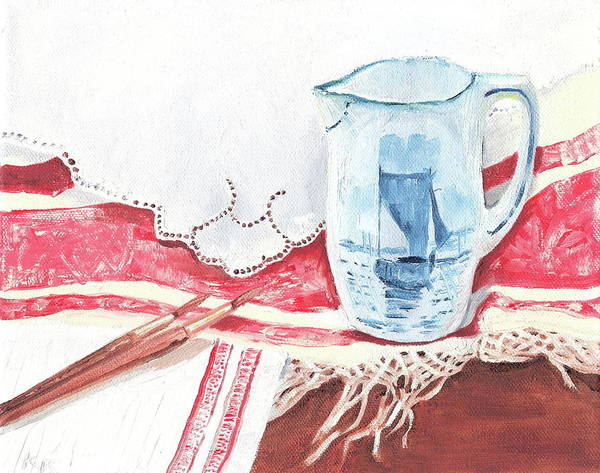 Pitcher Art Print featuring the painting Delft And Linens by Kathryn B