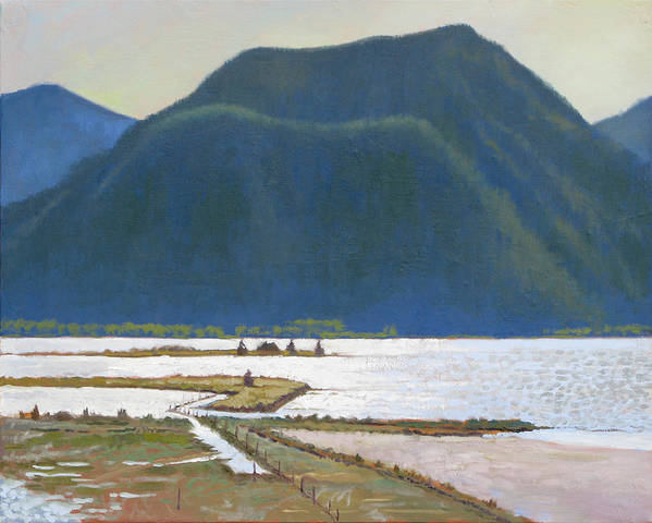Lake Art Print featuring the painting Derr Mountain by Robert Bissett