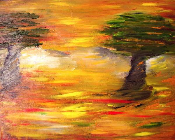 Landscape Art Print featuring the painting Desert Trees by Evelina Popilian